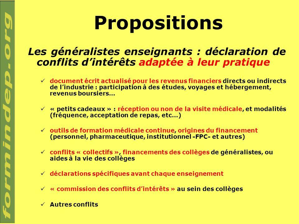 Propositions Les généralistes enseignants : déclaration de conflits dintérêts adaptée à leur pratique document écrit actualisé pour les revenus financ