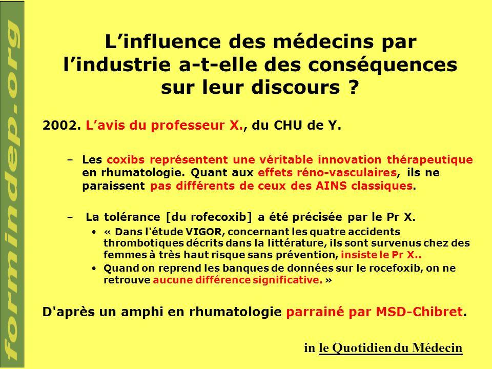 Linfluence des médecins par lindustrie a-t-elle des conséquences sur leur discours ? 2002. Lavis du professeur X., du CHU de Y. –Les coxibs représente