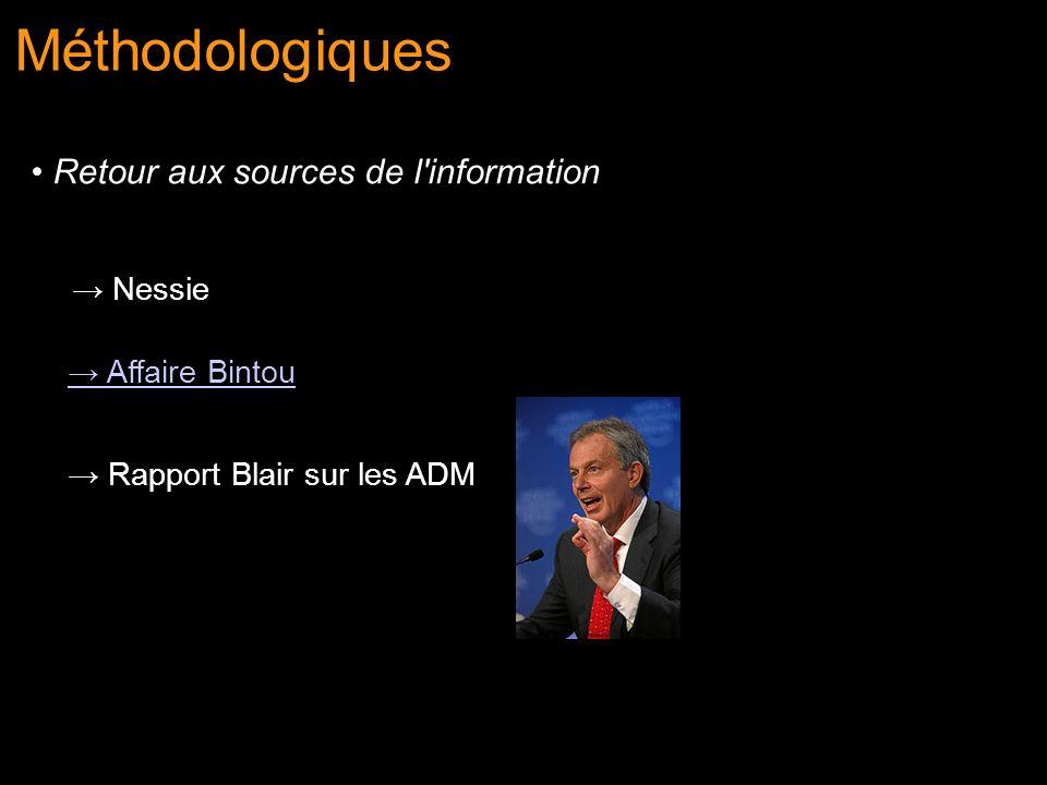 Nessie Affaire Bintou Rapport Blair sur les ADM Méthodologiques Retour aux sources de l'information