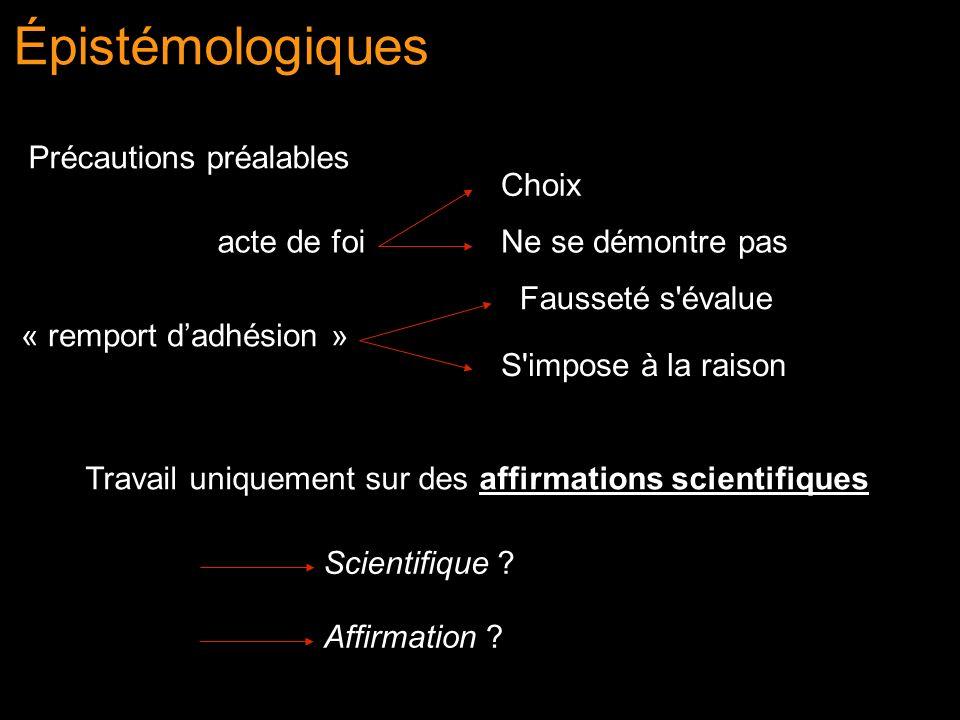 Épistémologiques Précautions préalables « remport dadhésion » acte de foi Choix Ne se démontre pas Fausseté s'évalue S'impose à la raison Travail uniq