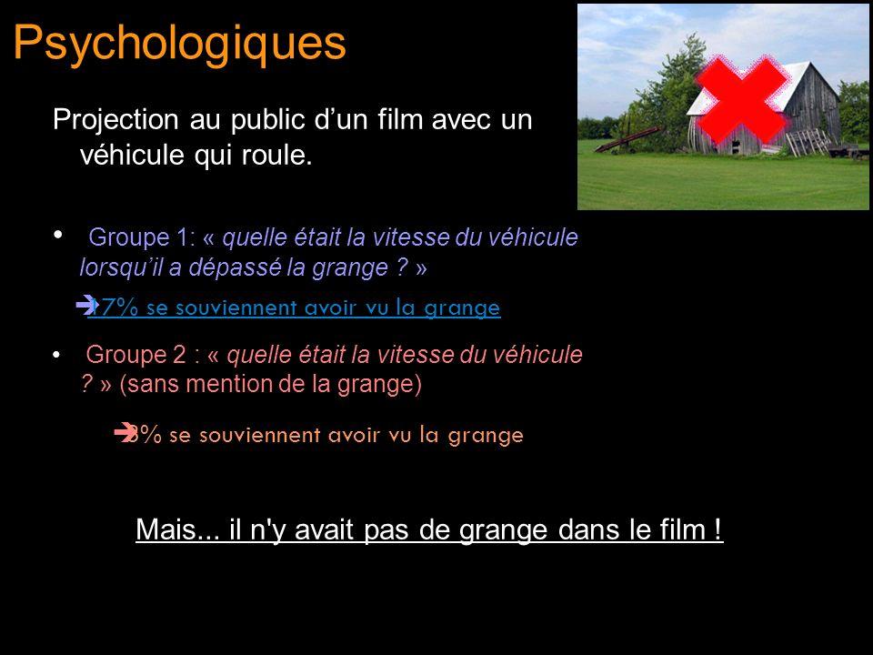 Psychologiques Projection au public dun film avec un véhicule qui roule. Groupe 1: « quelle était la vitesse du véhicule lorsquil a dépassé la grange