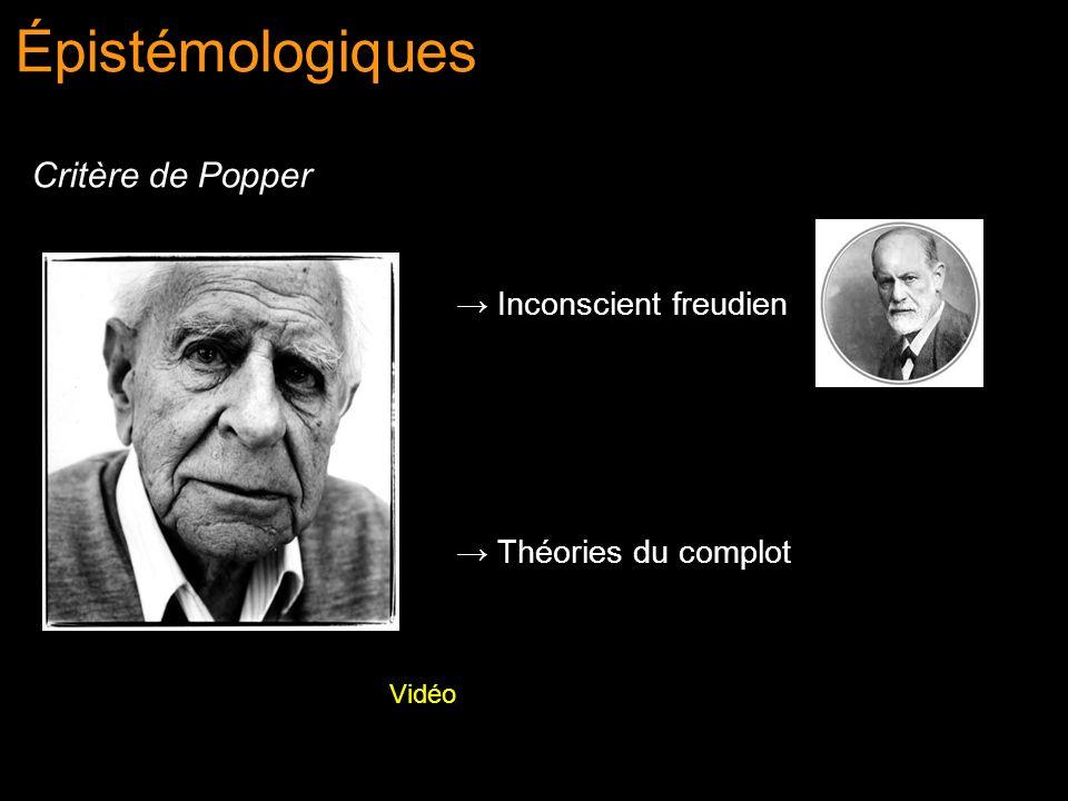 Épistémologiques Critère de Popper Inconscient freudien Théories du complot Vidéo
