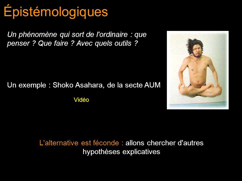 Épistémologiques Un exemple : Shoko Asahara, de la secte AUM Vidéo L'alternative est féconde : allons chercher d'autres hypothèses explicatives Un phé