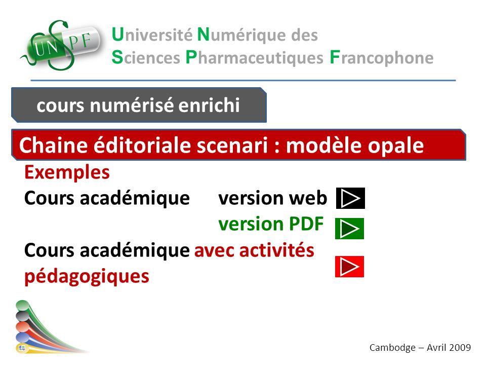 U niversité N umérique des S ciences P harmaceutiques F rancophone Exemples Cours académique version web version PDF Cours académique avec activités p