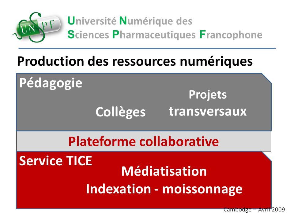 U niversité N umérique des S ciences P harmaceutiques F rancophone Plateforme collaborative Production des ressources numériques Pédagogie Projets tra
