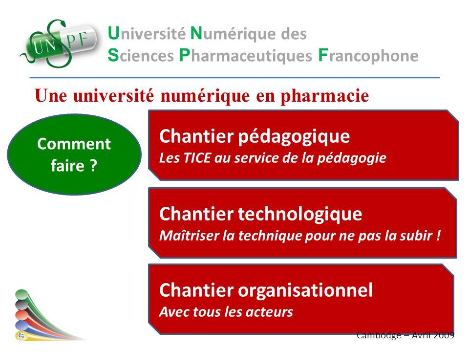 Une université numérique en pharmacie U niversité N umérique des S ciences P harmaceutiques F rancophone Comment faire ? Chantier pédagogique Les TICE