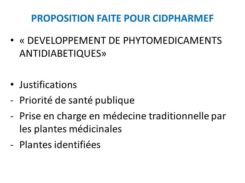 PROPOSITION FAITE POUR CIDPHARMEF « DEVELOPPEMENT DE PHYTOMEDICAMENTS ANTIDIABETIQUES» Justifications -Priorité de santé publique -Prise en charge en