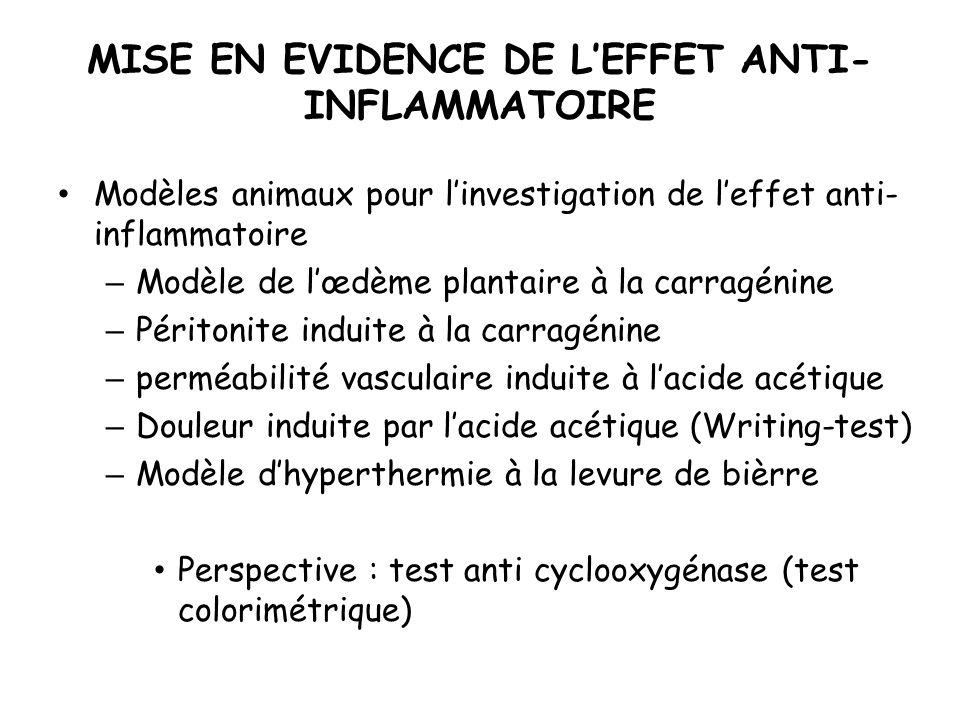 MISE EN EVIDENCE DE LEFFET ANTI- INFLAMMATOIRE Modèles animaux pour linvestigation de leffet anti- inflammatoire – Modèle de lœdème plantaire à la car