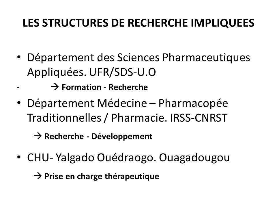 LES STRUCTURES DE RECHERCHE IMPLIQUEES Département des Sciences Pharmaceutiques Appliquées. UFR/SDS-U.O - Formation - Recherche Département Médecine –
