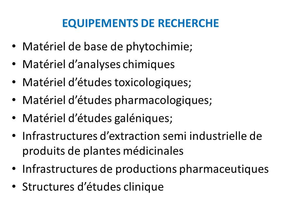 EQUIPEMENTS DE RECHERCHE Matériel de base de phytochimie; Matériel danalyses chimiques Matériel détudes toxicologiques; Matériel détudes pharmacologiq