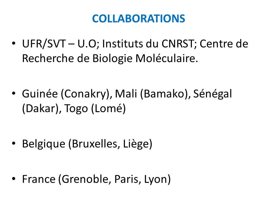 COLLABORATIONS UFR/SVT – U.O; Instituts du CNRST; Centre de Recherche de Biologie Moléculaire. Guinée (Conakry), Mali (Bamako), Sénégal (Dakar), Togo