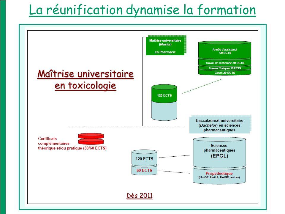 Maîtrise universitaire en toxicologie La réunification dynamise la formation Dès 2011