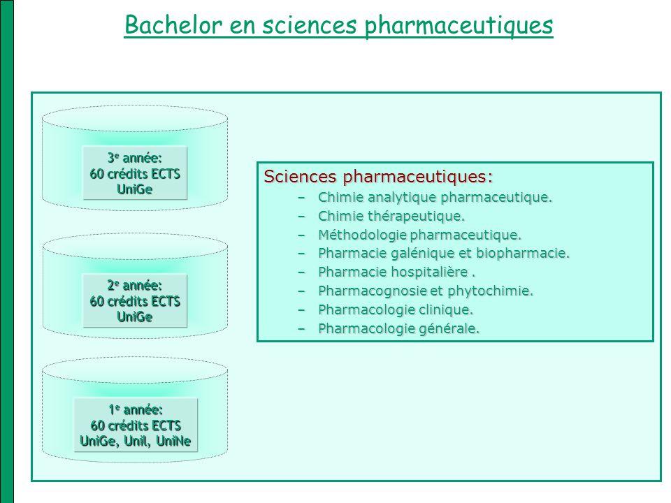 Bachelor en sciences pharmaceutiques 1 e année: 60 crédits ECTS UniGe, Unil, UniNe 2 e année: 60 crédits ECTS UniGe 3 e année: 60 crédits ECTS UniGe S