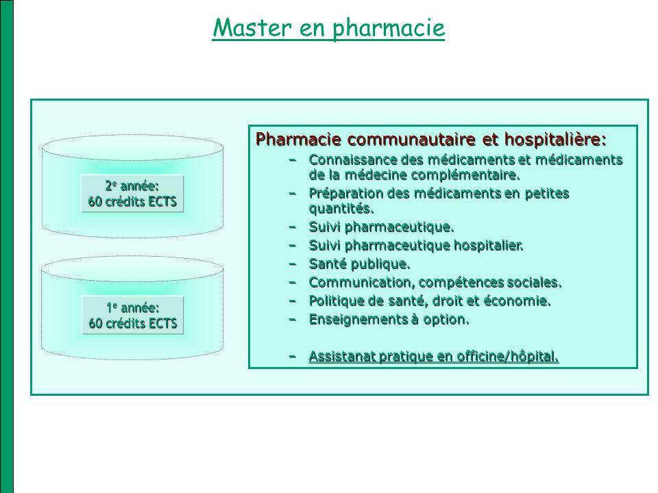 Pharmacie communautaire et hospitalière: –Connaissance des médicaments et médicaments de la médecine complémentaire. –Préparation des médicaments en p