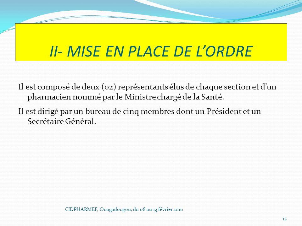 II- MISE EN PLACE DE LORDRE Il est composé de deux (02) représentants élus de chaque section et dun pharmacien nommé par le Ministre chargé de la Sant