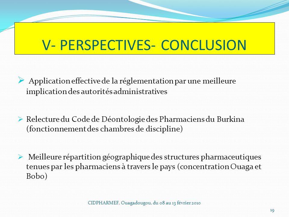 V- PERSPECTIVES- CONCLUSION Application effective de la réglementation par une meilleure implication des autorités administratives Relecture du Code d