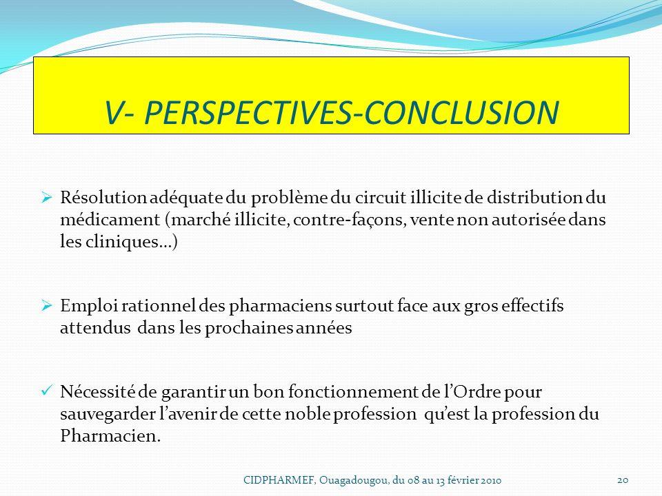 V- PERSPECTIVES-CONCLUSION Résolution adéquate du problème du circuit illicite de distribution du médicament (marché illicite, contre-façons, vente no