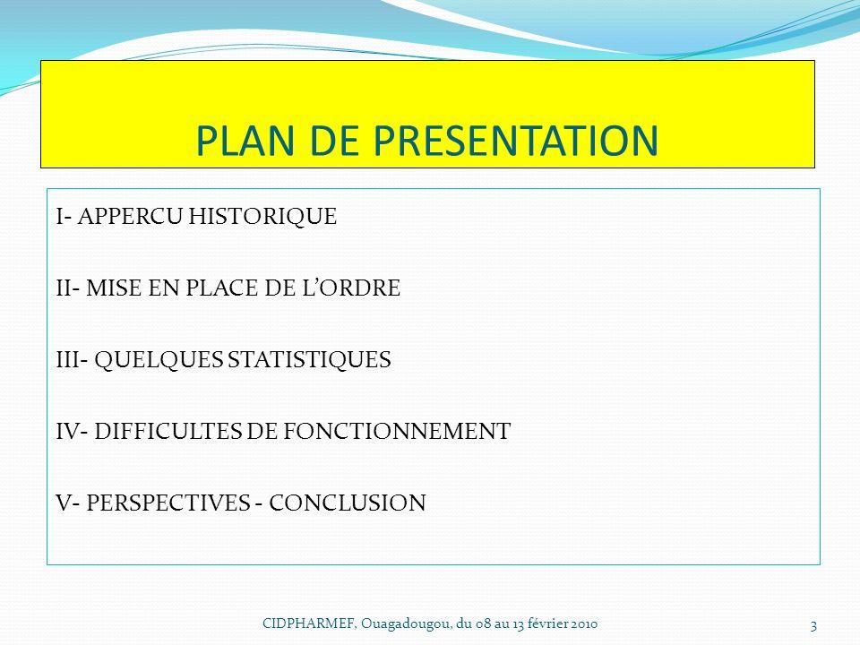PLAN DE PRESENTATION I- APPERCU HISTORIQUE II- MISE EN PLACE DE LORDRE III- QUELQUES STATISTIQUES IV- DIFFICULTES DE FONCTIONNEMENT V- PERSPECTIVES -