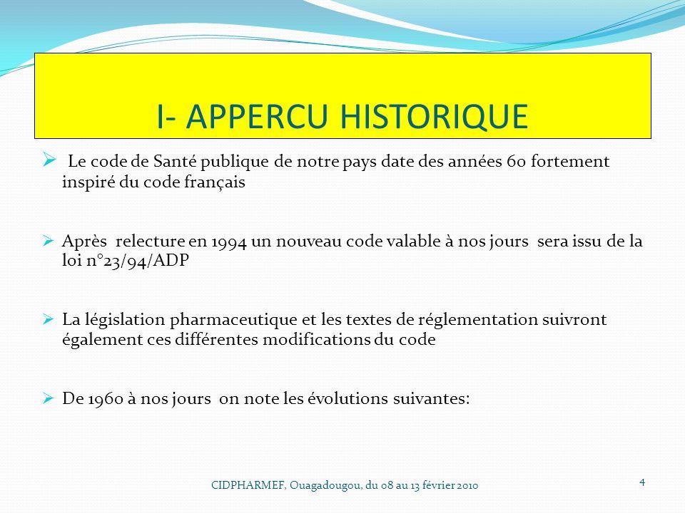 I- APPERCU HISTORIQUE Le code de Santé publique de notre pays date des années 60 fortement inspiré du code français Après relecture en 1994 un nouveau