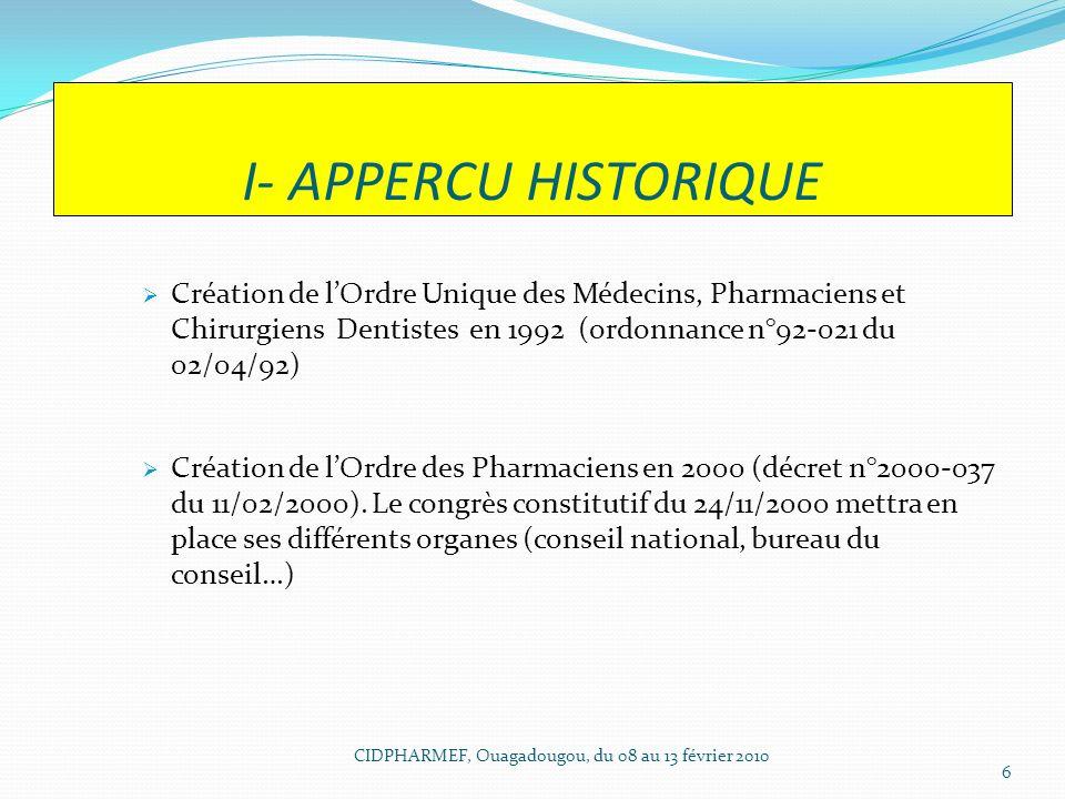 I- APPERCU HISTORIQUE Création de lOrdre Unique des Médecins, Pharmaciens et Chirurgiens Dentistes en 1992 (ordonnance n°92-021 du 02/04/92) Création