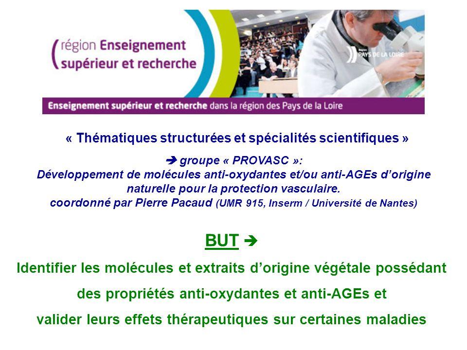 Moyens 8 laboratoires sur la région Pays de Loire > 2 M sur 4 ans laboratoires * Biologie Neurovasculaire Intégrée (BNVI) Dir.