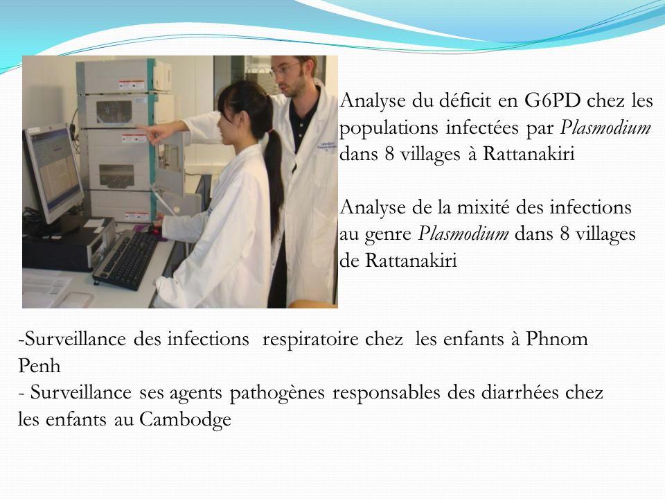 Analyse du déficit en G6PD chez les populations infectées par Plasmodium dans 8 villages à Rattanakiri Analyse de la mixité des infections au genre Pl