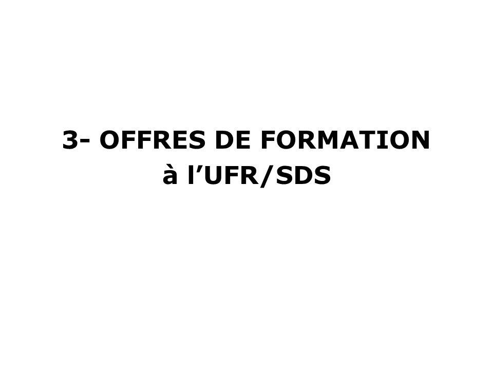 3- OFFRES DE FORMATION à lUFR/SDS