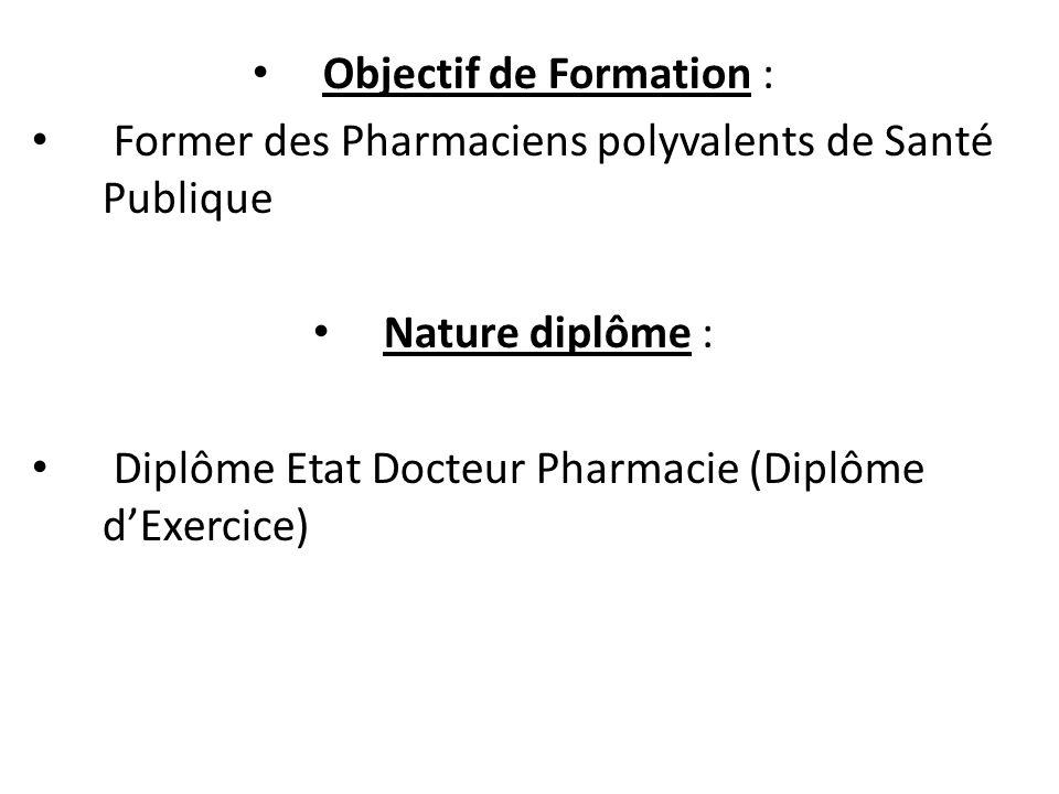 Objectif de Formation : Former des Pharmaciens polyvalents de Santé Publique Nature diplôme : Diplôme Etat Docteur Pharmacie (Diplôme dExercice)