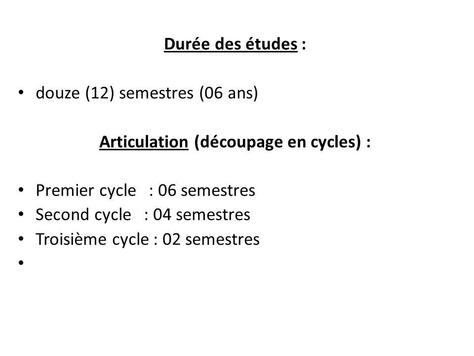 Durée des études : douze (12) semestres (06 ans) Articulation (découpage en cycles) : Premier cycle : 06 semestres Second cycle : 04 semestres Troisième cycle : 02 semestres