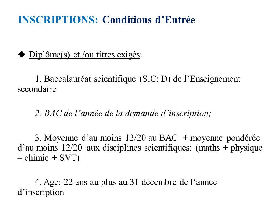 INSCRIPTIONS: Conditions dEntrée Diplôme(s) et /ou titres exigés: 1. Baccalauréat scientifique (S;C; D) de lEnseignement secondaire 2. BAC de lannée d