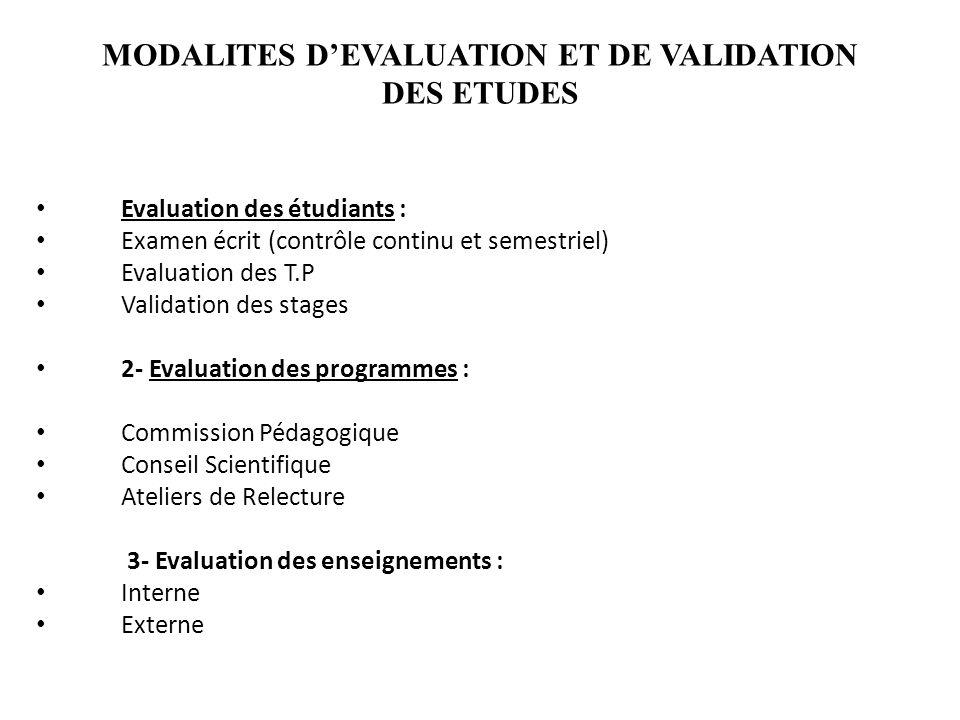 MODALITES DEVALUATION ET DE VALIDATION DES ETUDES Evaluation des étudiants : Examen écrit (contrôle continu et semestriel) Evaluation des T.P Validati