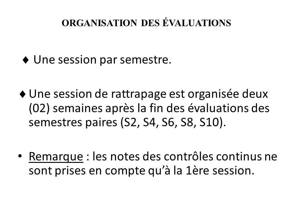 ORGANISATION DES ÉVALUATIONS Une session par semestre. Une session de rattrapage est organisée deux (02) semaines après la fin des évaluations des sem