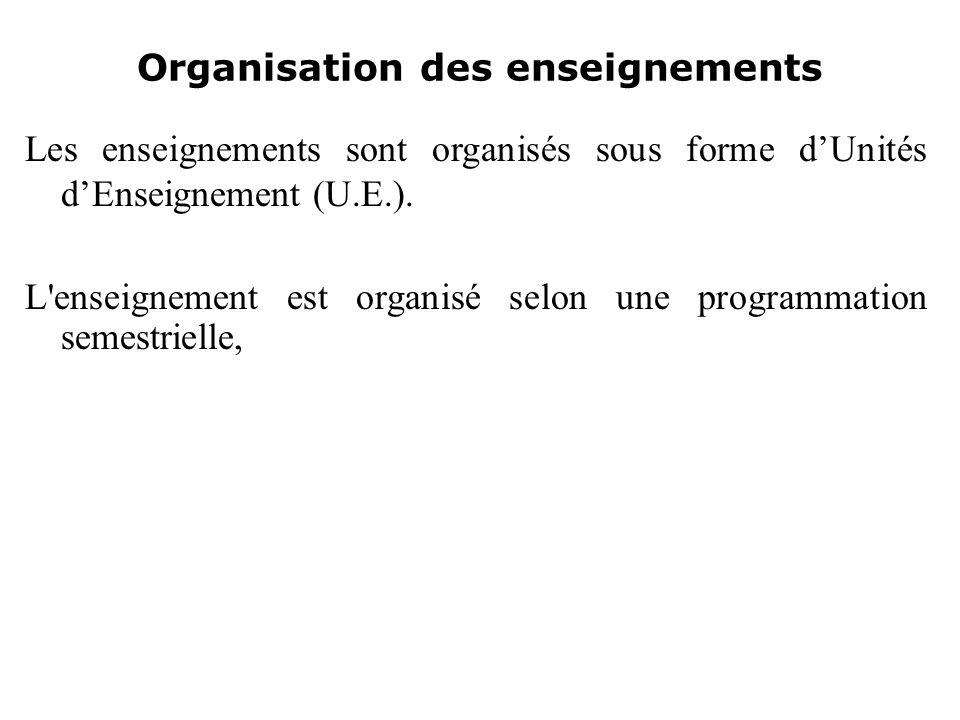 Organisation des enseignements Les enseignements sont organisés sous forme dUnités dEnseignement (U.E.). L'enseignement est organisé selon une program