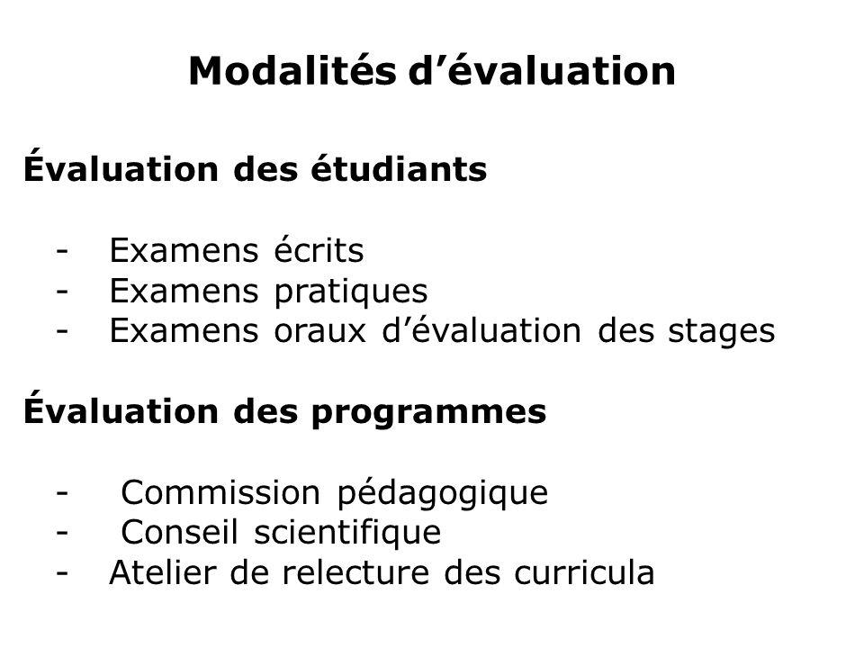 Modalités dévaluation Évaluation des étudiants - Examens écrits -Examens pratiques -Examens oraux dévaluation des stages Évaluation des programmes - C