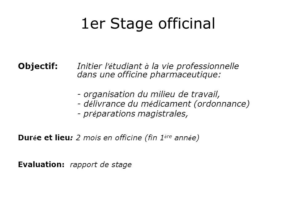 1er Stage officinal Objectif: Initier l é tudiant à la vie professionnelle dans une officine pharmaceutique: - organisation du milieu de travail, - d