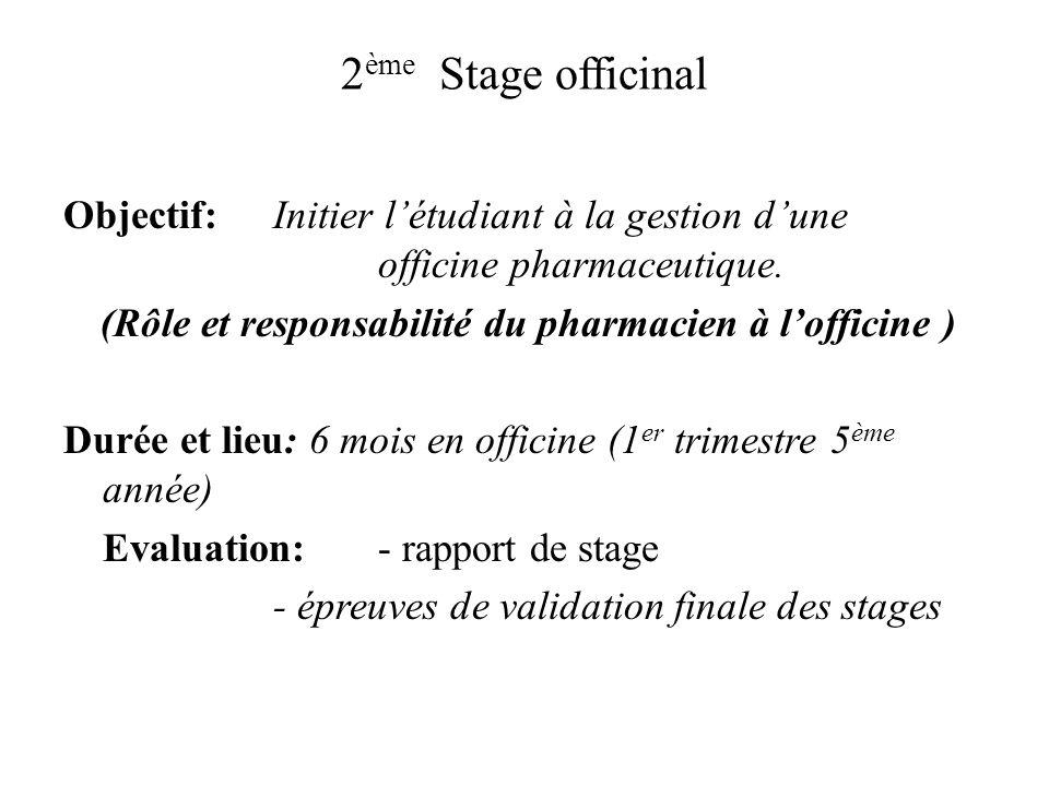 2 ème Stage officinal Objectif: Initier létudiant à la gestion dune officine pharmaceutique. (Rôle et responsabilité du pharmacien à lofficine ) Durée