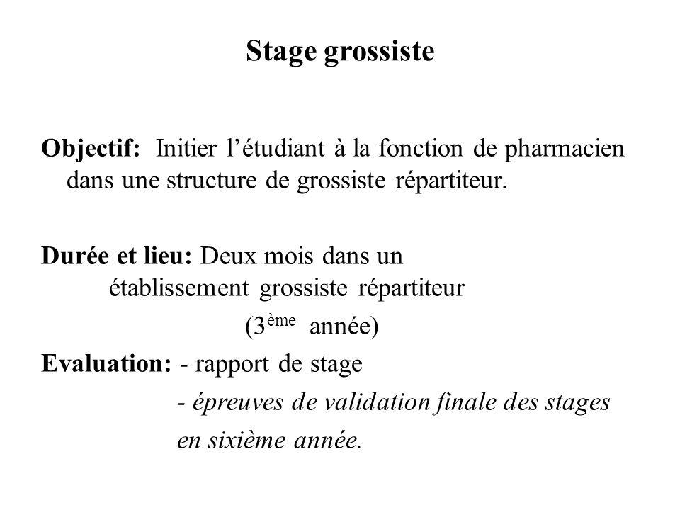 Stage grossiste Objectif: Initier létudiant à la fonction de pharmacien dans une structure de grossiste répartiteur. Durée et lieu: Deux mois dans un
