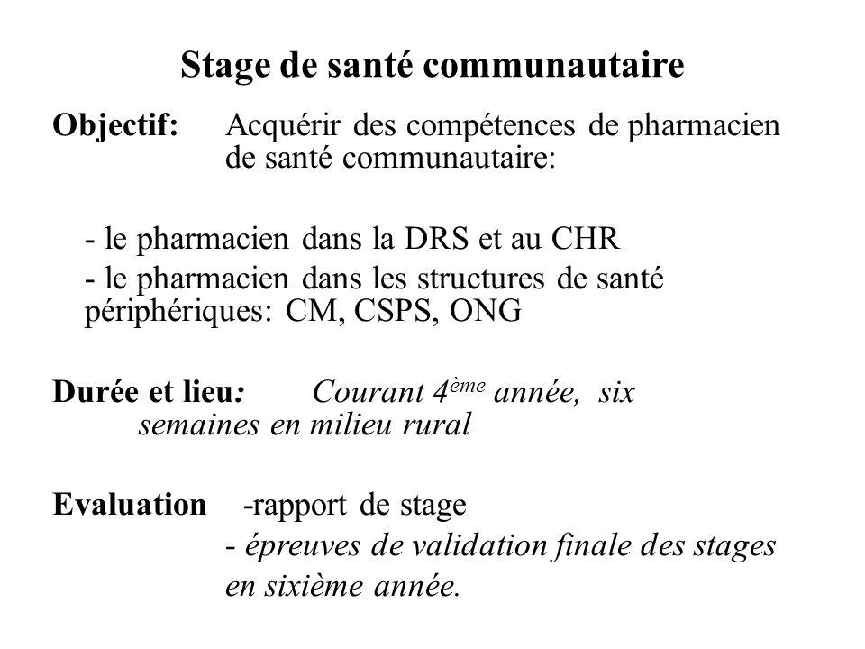 Stage de santé communautaire Objectif: Acquérir des compétences de pharmacien de santé communautaire: - le pharmacien dans la DRS et au CHR - le pharmacien dans les structures de santé périphériques: CM, CSPS, ONG Durée et lieu: Courant 4 ème année, six semaines en milieu rural Evaluation -rapport de stage - épreuves de validation finale des stages en sixième année.