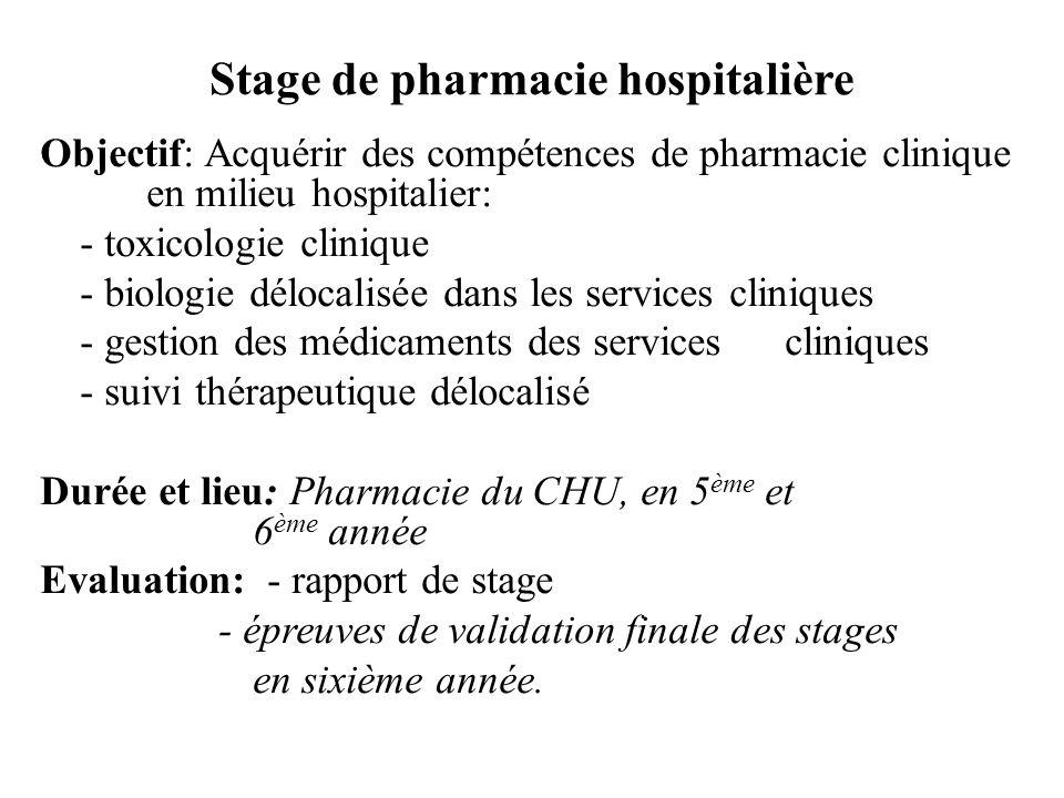 Stage de pharmacie hospitalière Objectif: Acquérir des compétences de pharmacie clinique en milieu hospitalier: - toxicologie clinique - biologie délo
