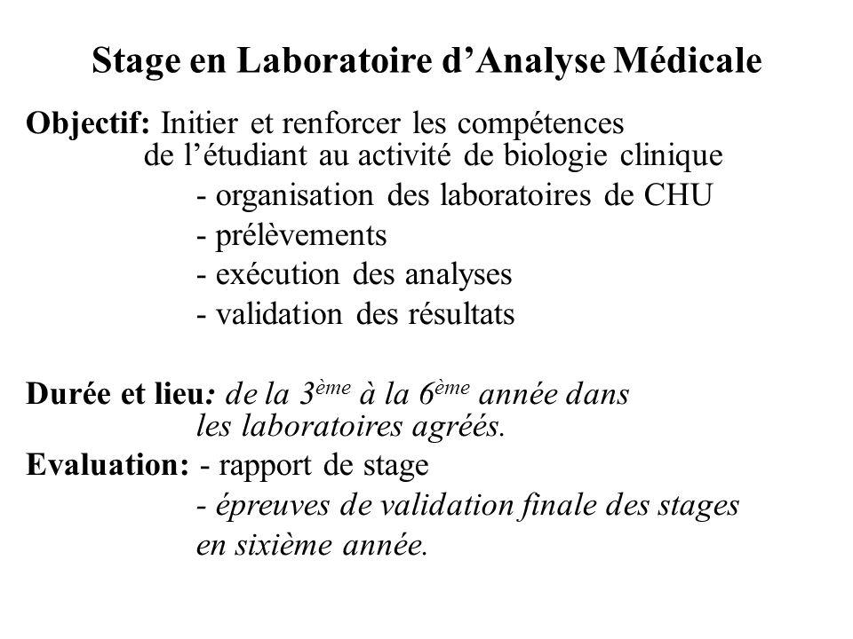 Stage en Laboratoire dAnalyse Médicale Objectif: Initier et renforcer les compétences de létudiant au activité de biologie clinique - organisation des