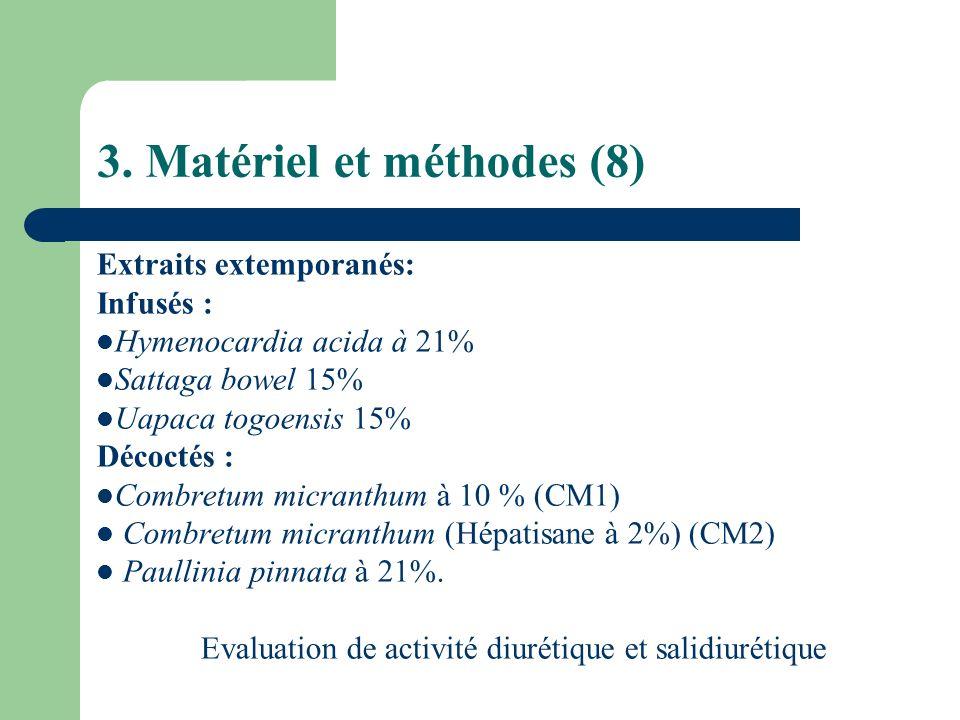 3. Matériel et méthodes (8) Extraits extemporanés: Infusés : Hymenocardia acida à 21% Sattaga bowel 15% Uapaca togoensis 15% Décoctés : Combretum micr