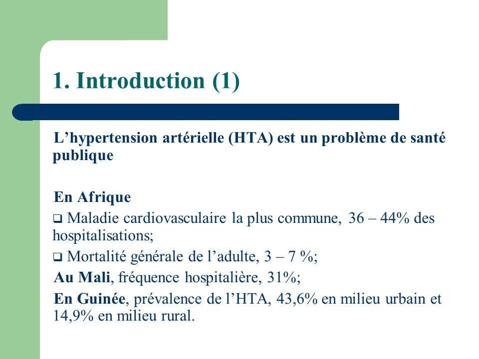 1. Introduction (1) Lhypertension artérielle (HTA) est un problème de santé publique En Afrique Maladie cardiovasculaire la plus commune, 36 – 44% des