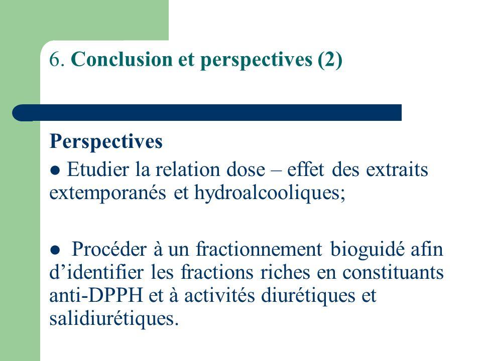 6. Conclusion et perspectives (2) Perspectives Etudier la relation dose – effet des extraits extemporanés et hydroalcooliques; Procéder à un fractionn