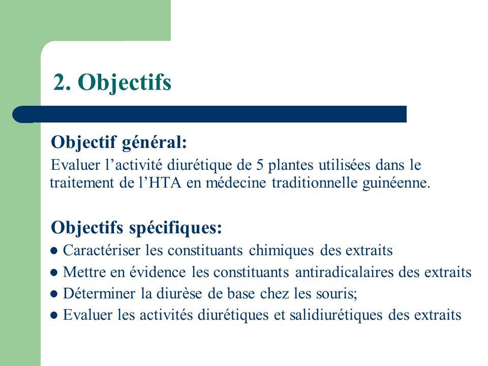 2. Objectifs Objectif général: Evaluer lactivité diurétique de 5 plantes utilisées dans le traitement de lHTA en médecine traditionnelle guinéenne. Ob