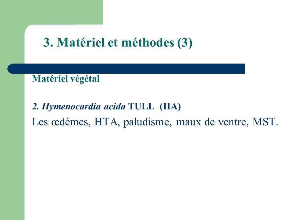 3. Matériel et méthodes (3) 2. Hymenocardia acida TULL (HA) Les œdèmes, HTA, paludisme, maux de ventre, MST. Matériel végétal