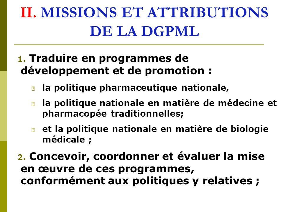 II.MISSIONS ET ATTRIBUTIONS DE LA DGPML 1.
