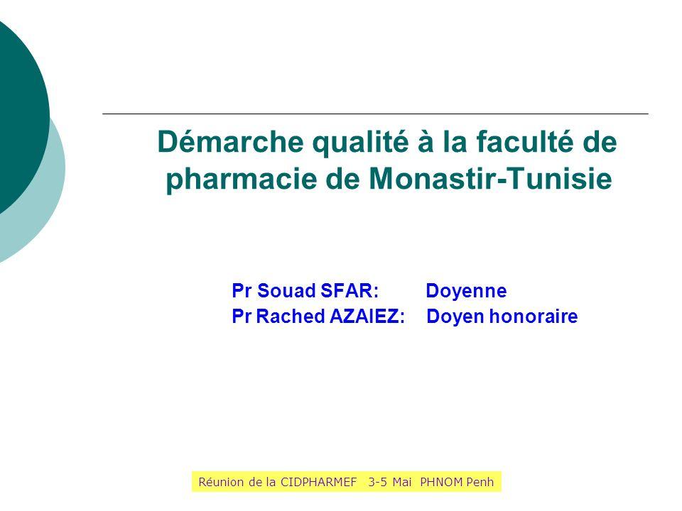 Démarche qualité à la faculté de pharmacie de Monastir-Tunisie Pr Souad SFAR: Doyenne Pr Rached AZAIEZ: Doyen honoraire Réunion de la CIDPHARMEF 3-5 M