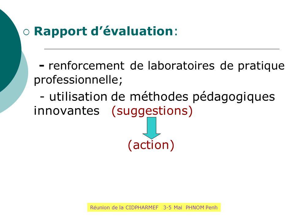 Rapport dévaluation: - renforcement de laboratoires de pratique professionnelle; - utilisation de méthodes pédagogiques innovantes (suggestions) (acti
