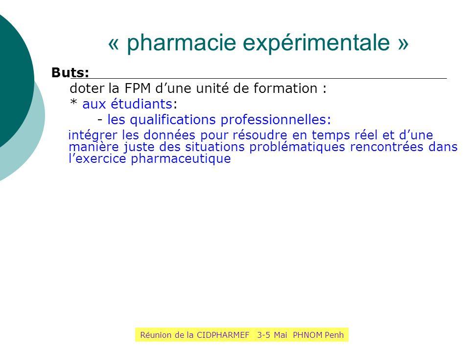 « pharmacie expérimentale » Buts: doter la FPM dune unité de formation : * aux étudiants: - les qualifications professionnelles: intégrer les données