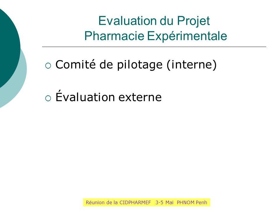 Evaluation du Projet Pharmacie Expérimentale Comité de pilotage (interne) Évaluation externe Réunion de la CIDPHARMEF 3-5 Mai PHNOM Penh